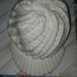 Roxy  Cream Color Knit Hat With Pin